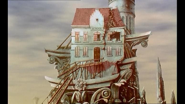 Scène issue du film Taxandria de Raoul Servais, décor dessiné par François Schuiten