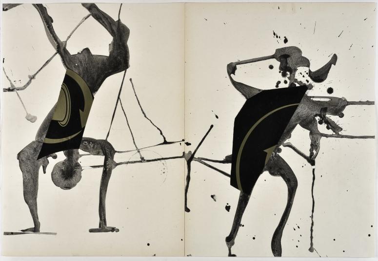 Peter Knapp, sans titre, s. d. Lavis d'encre de Chine et collage de plastique sur papier, 43,6 x 63,4 cm © Peter Knapp. Photo : Musées de la Ville de Strasbourg / Mathieu Bertola