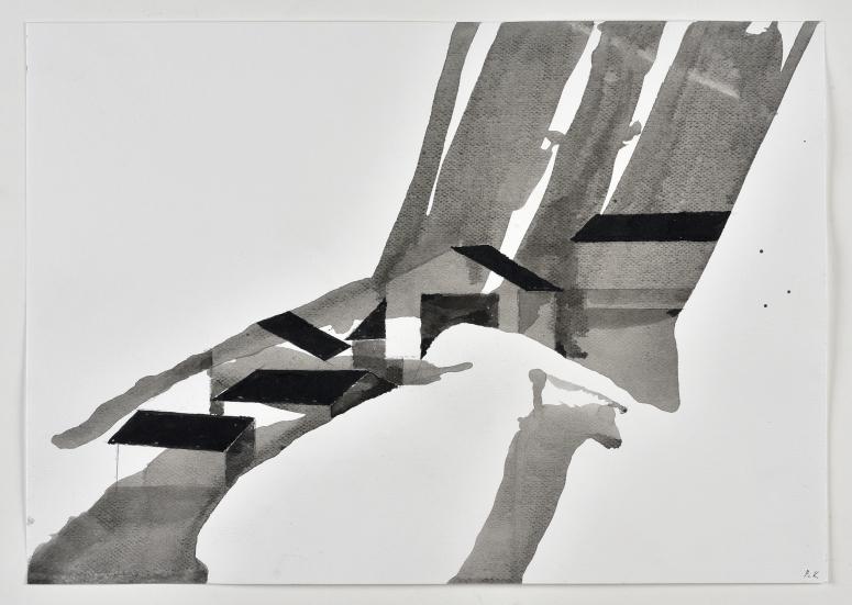 Peter Knapp, « Dorf Schlappin », 2014 Lavis d'encres noire et grise, crayon et feutre sur papier, 41,9 x 29,5 cm © Peter Knapp. Photo : Musées de la Ville de Strasbourg / Mathieu Bertola