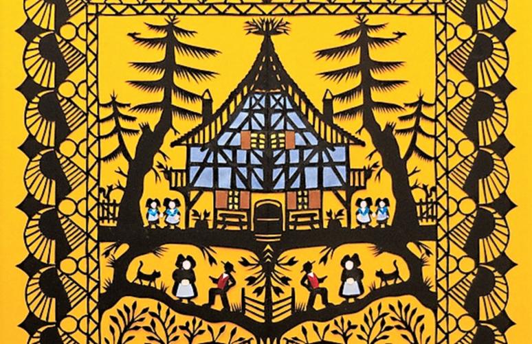 Extrait de la planche illustrant Le renard et la cigogne des fables de La Fontaine, par Emmanuel Fornage