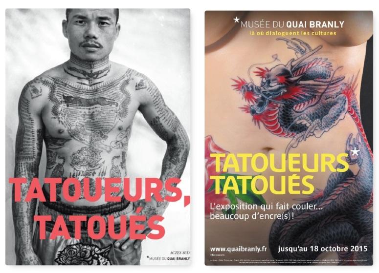 Coll., Tatoueurs, tatoués, cat. expo., Actes Sud (coédition Musée du Quai Branly) - Affiche de l'exposition Tatoueurs Tatoués