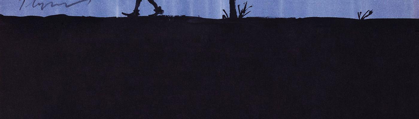 Tomi Ungerer, sans titre [dessin pour Les Trois Brigands], 1961 Lavis d'encre de Chine et d'encres de couleur, feutre et rehauts de crayon blanc sur papier blanc Collection Musée Tomi Ungerer – Centre international de l'Illustration, Strasbourg © Diogenes Verlag AG Zurich  Ayants droit Tomi Ungerer Photo : Musées de la Ville de Strasbourg / M. Bernhart