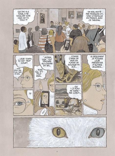 """""""Les Chats du Louvre"""" de Taiyô Matsumoto, mise en couleur d'Isabelle Merlet. Co-édition Futuropolis & Louvre, 2018 (extrait)"""